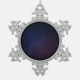 Milky Way stars night sky Snowflake Pewter Christmas Ornament
