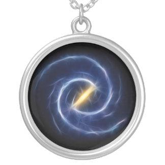 Milky Way Stars Spiral Galaxy Round Pendant Necklace