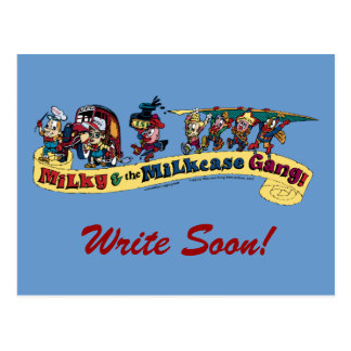 Milky's Pen and Quill Logo, Write Soon! Postcard