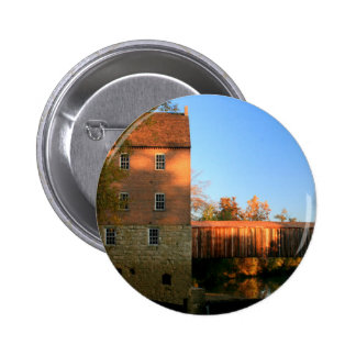 Mill and Covered Bridge Pinback Button