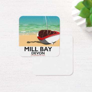 Mill Bay Devon Rail poster Square Business Card