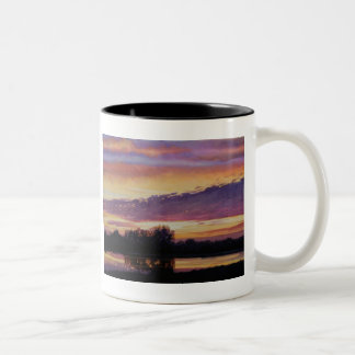 """Mill Creek Sunset"" Landscape Watercolor Two-Tone Coffee Mug"