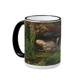 Millais Pre-Raphaelite Ophelia (cropped) Ringer Coffee Mug