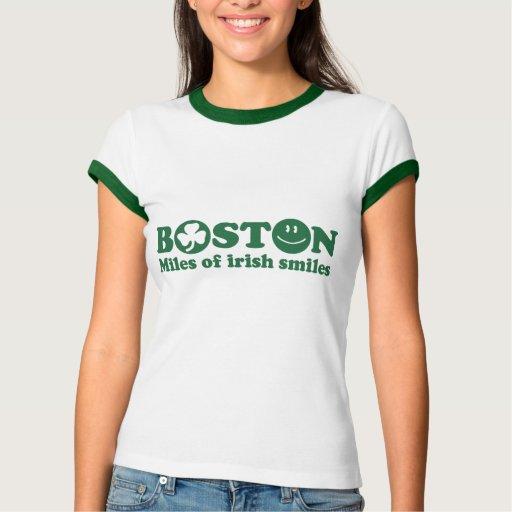 Millas de Boston de sonrisas irlandesas Playera