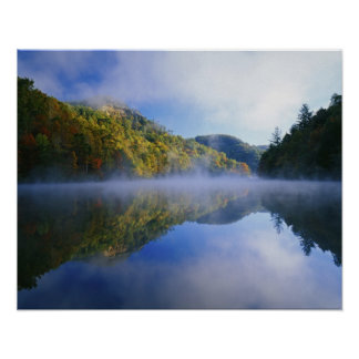 Millcreek Lake and autumn colors at sunrise, Poster