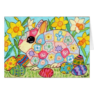 Millefiori Bunny with Festive Eggs Folk Art Easter Card