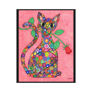 Millefiori Cat with Red Rose Canvas Print