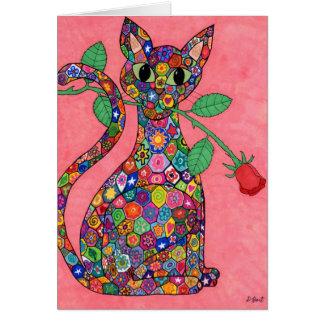 Millefiori Cat with Red Rose Card