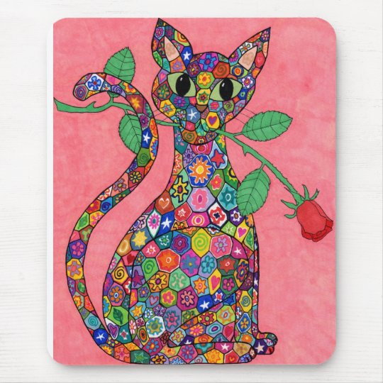 Millefiori Cat with Red Rose Mouse Pad