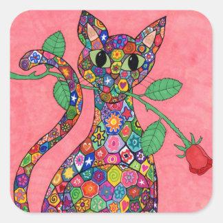 Millefiori Cat with Red Rose Square Stickers