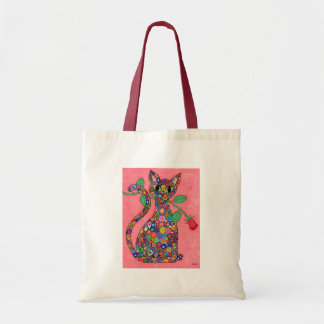 Millefiori Cat with Red Rose Tote Bag