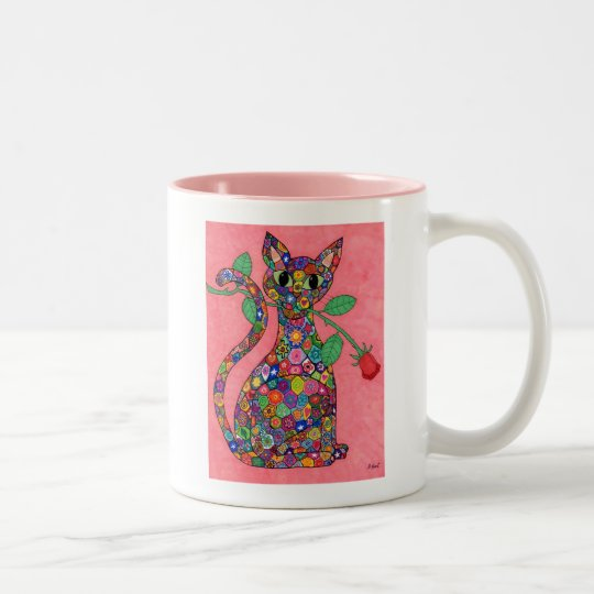 Millefiori Cat with Red Rose Two-Tone Coffee Mug