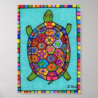 Millefiori Mosaic Turtle Mini Folk Art Poster