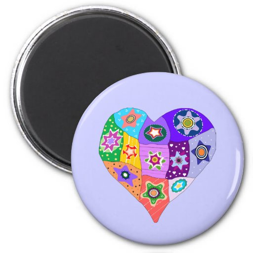 Millefiori quilt heart magnet