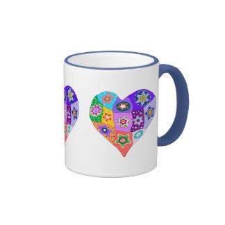Millefiori quilt heart mug