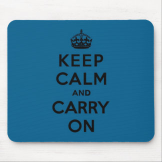 Millenium Blue Keep Calm and Carry On (black) Mouse Pad