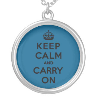 Millenium Blue Keep Calm and Carry On (black) Round Pendant Necklace