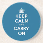 Millenium Blue Keep Calm and Carry On Beverage Coaster