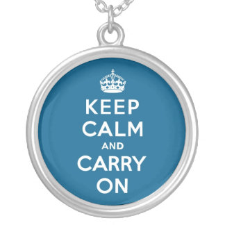 Millenium Blue Keep Calm and Carry On Round Pendant Necklace