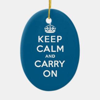 Millennium Blue Keep Calm and Carry On Ceramic Ornament