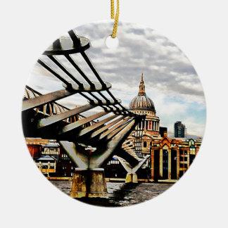 Millennium Bridge - London Double-Sided Ceramic Round Christmas Ornament