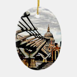 Millennium Bridge - London Double-Sided Oval Ceramic Christmas Ornament