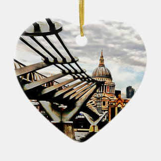Millennium Bridge - London Double-Sided Heart Ceramic Christmas Ornament