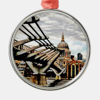 Millennium Bridge - London Round Metal Christmas Ornament