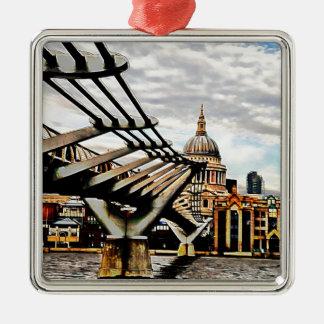 Millennium Bridge - London Square Metal Christmas Ornament