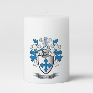 Miller Family Crest Coat of Arms Pillar Candle