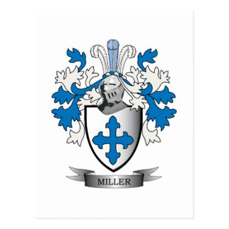 Miller Family Crest Coat of Arms Postcard