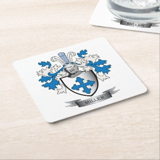 Miller Family Crest Coat of Arms Square Paper Coaster