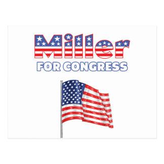 Miller for Congress Patriotic American Flag Design Postcard