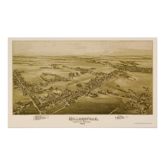Millersville, mapa panorámico del PA - 1894 Póster