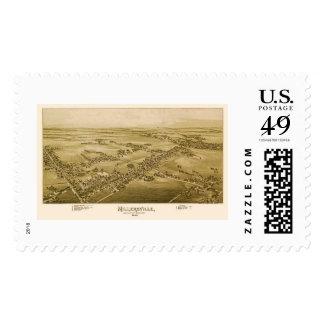 Millersville, mapa panorámico del PA - 1894 Sellos Postales