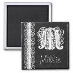 Millie M Monogram White Lace on Black Magnet