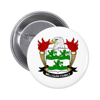 Milligan Coat of Arms / Family Crest Pinback Button