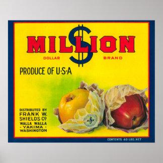 Million Dollar Apple Label - Walla Walla, WA Poster
