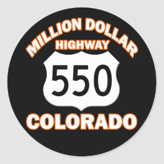 MILLION DOLLAR HIGHWAY COLORADO 550 CLASSIC ROUND STICKER