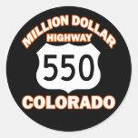 MILLION DOLLAR HIGHWAY COLORADO 550 CLASSIC ROUND STICKER