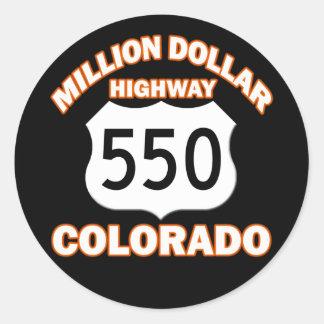 MILLION DOLLAR HIGHWAY COLORADO 550 ROUND STICKER
