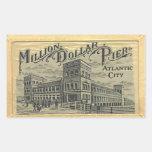 Million Dollar Pier Atlantic City, Vintage Rectangular Sticker