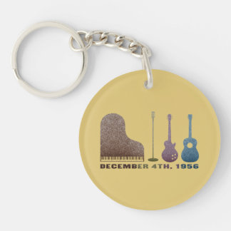 Million Dollar Quartet Instruments - Color Double-Sided Round Acrylic Keychain