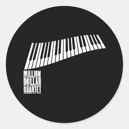 Million Dollar Quartet Piano - White Classic Round Sticker