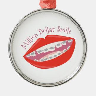 Million Dollar Smile Round Metal Christmas Ornament