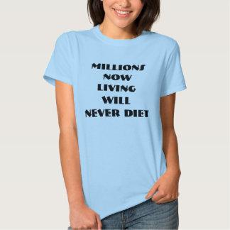 MILLIONS NOW LIVING WILL NEVER DIET TEE SHIRT