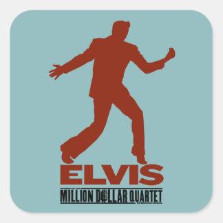 Millón de cuartetos Elvis del dólar Calcomanias Cuadradas