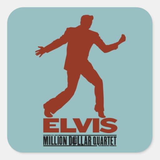 Millón de cuartetos Elvis del dólar Calcomanía Cuadradas Personalizadas