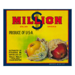 Millón de dólares Apple etiquetan - Walla Walla, W Poster