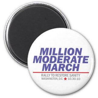 Millón de pilas azules moderadas de marzo imán redondo 5 cm